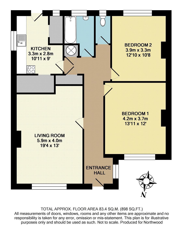 2 bedroom maisonette for sale in kendrick court reading for Reading a floor plan