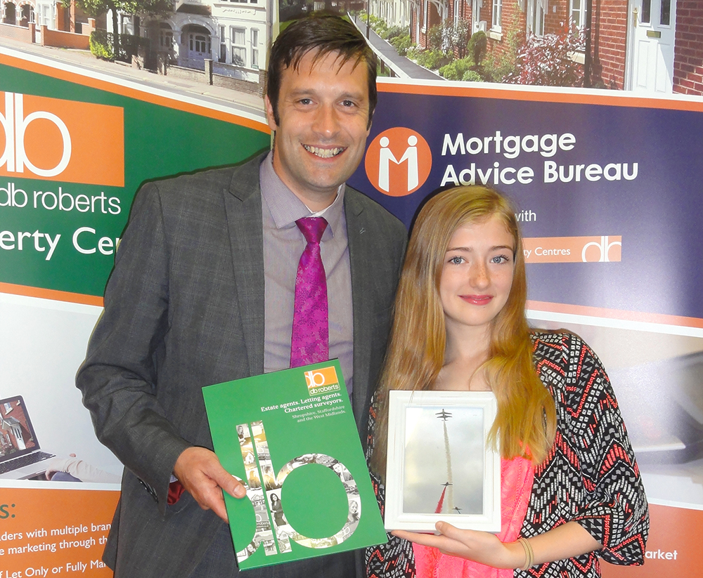 annaleigh and her winning photo with our shropshire area director matt hill