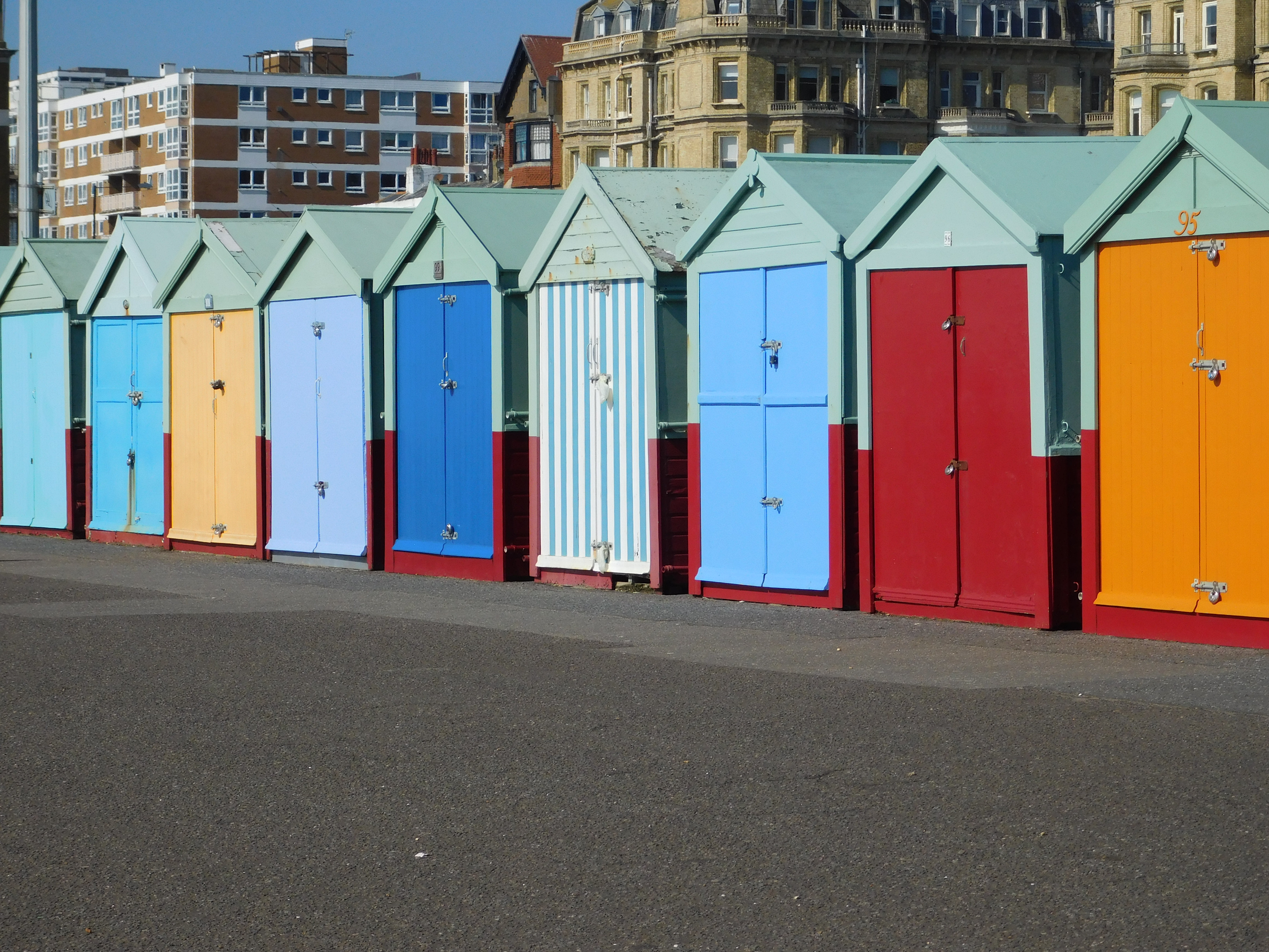 Colourful beach huts in Hove