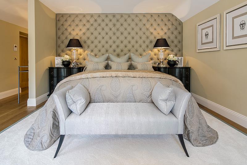 glamorous bedroom's padded wall