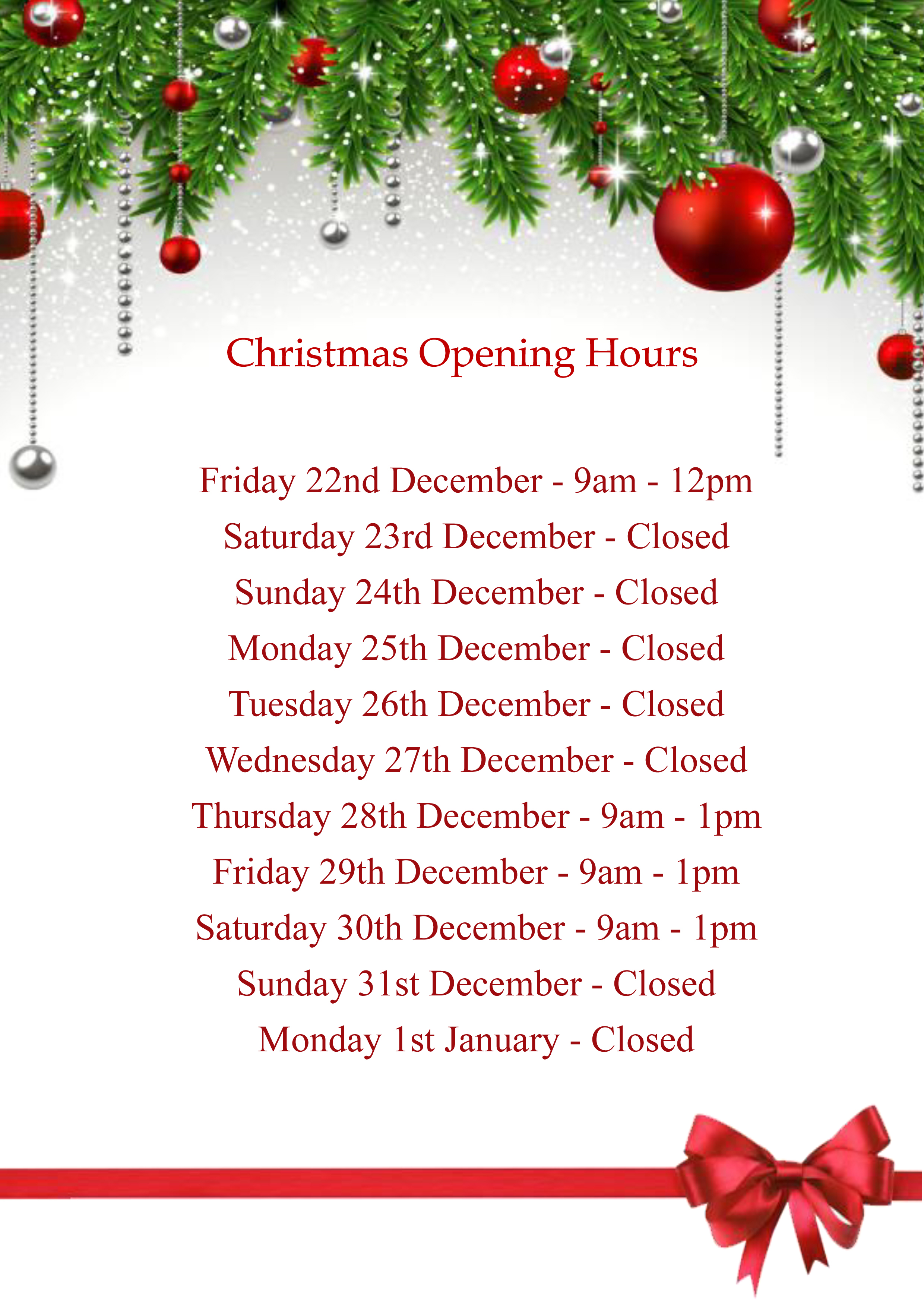 Christmas Opening Hours.Christmas Opening Hours 2017 Anker And Partners Estate
