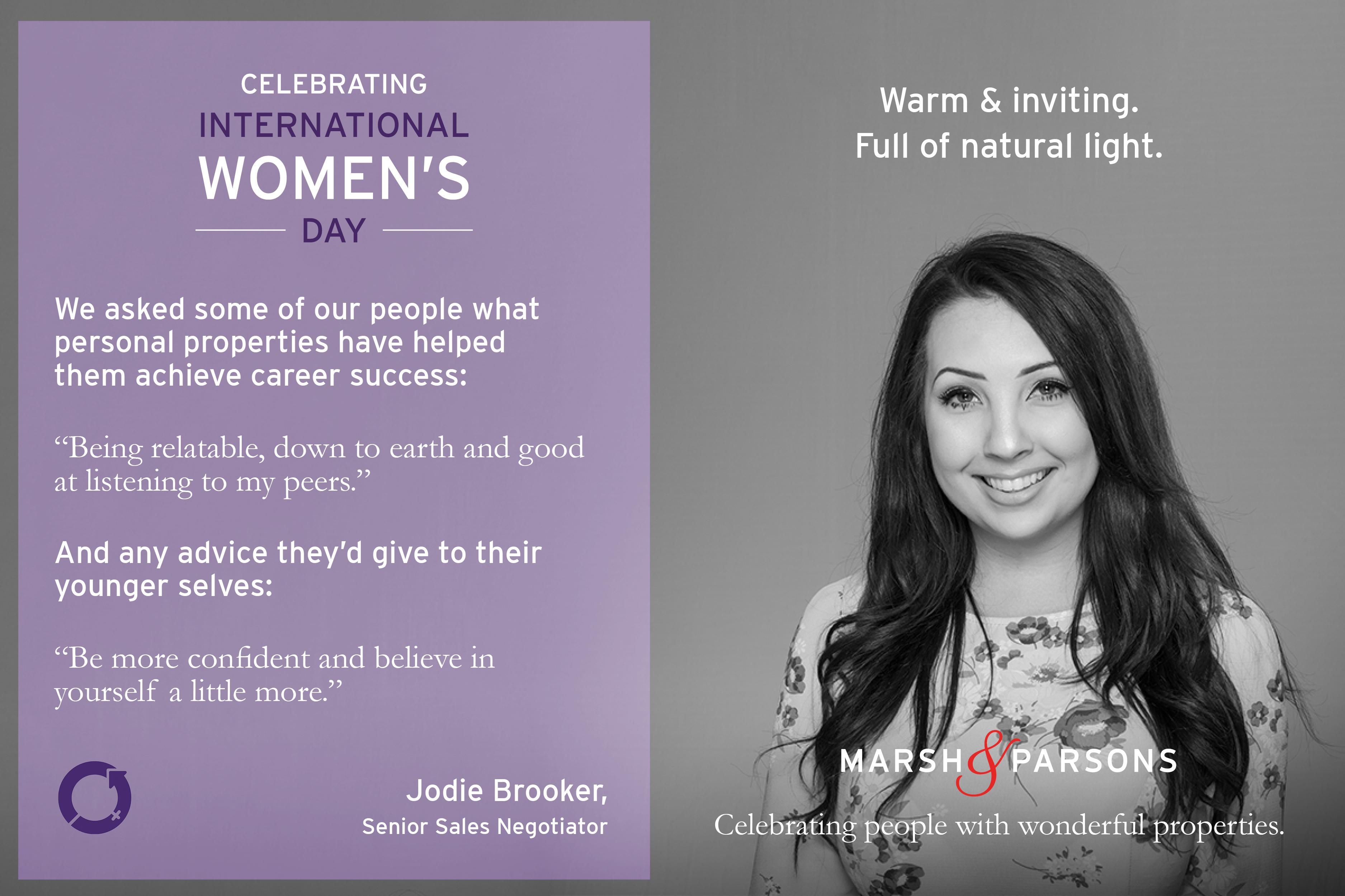 Jodie Brooker, International Women's Day