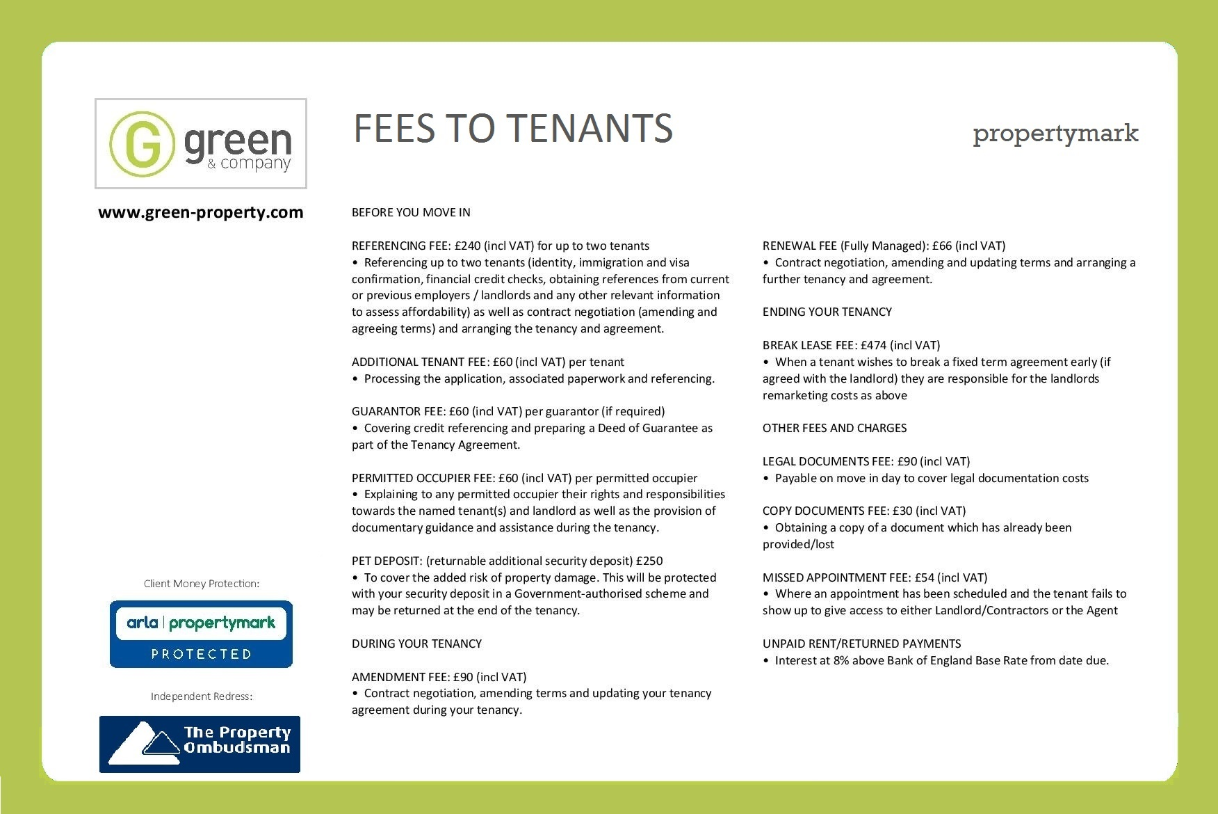 Fees for landlords