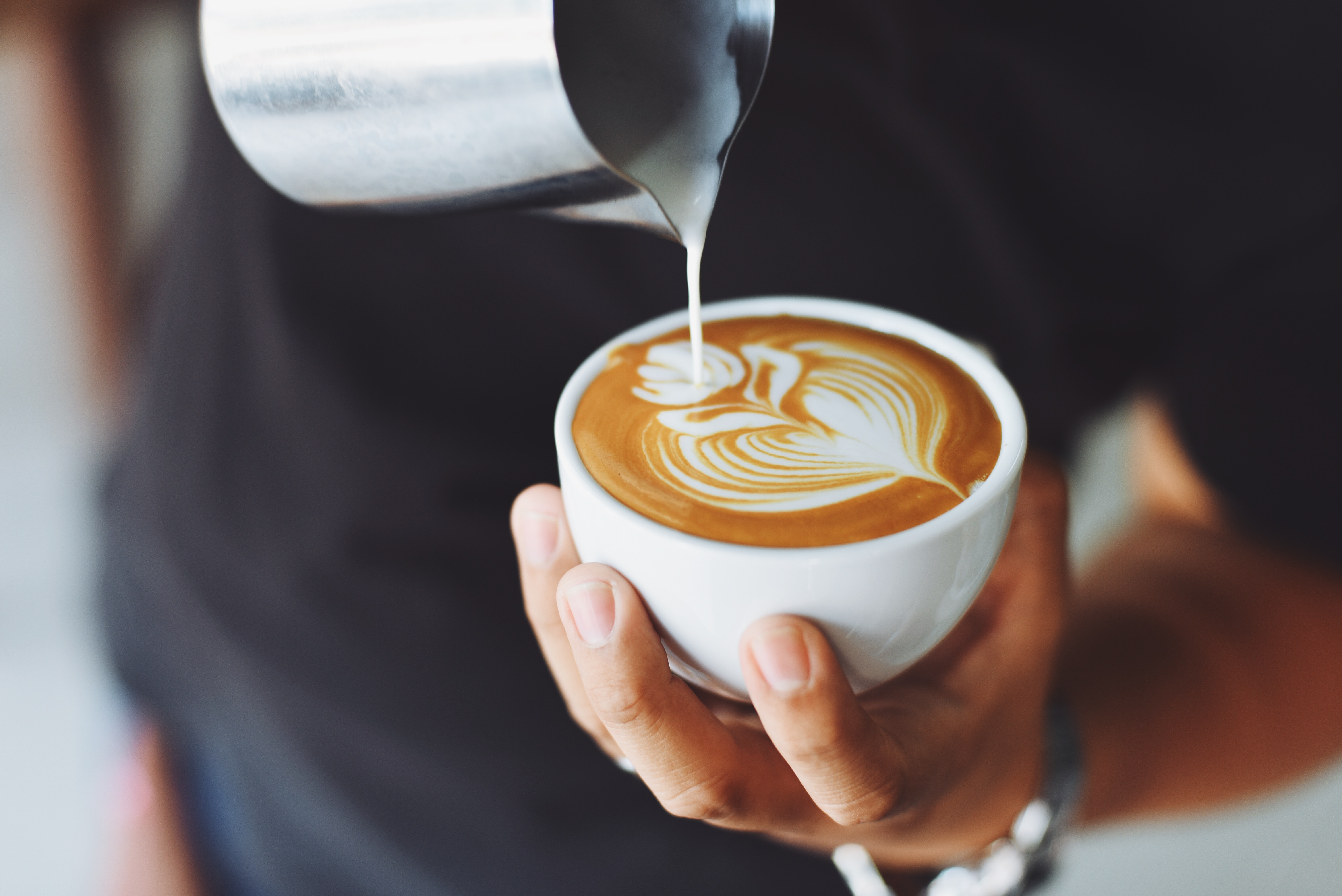 latte being poured