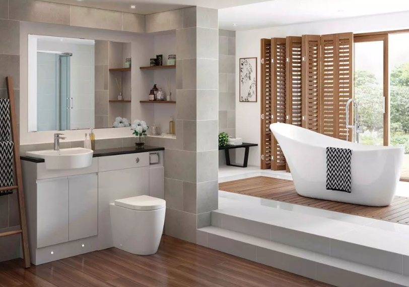 Beatiful bathroom with free standing tub
