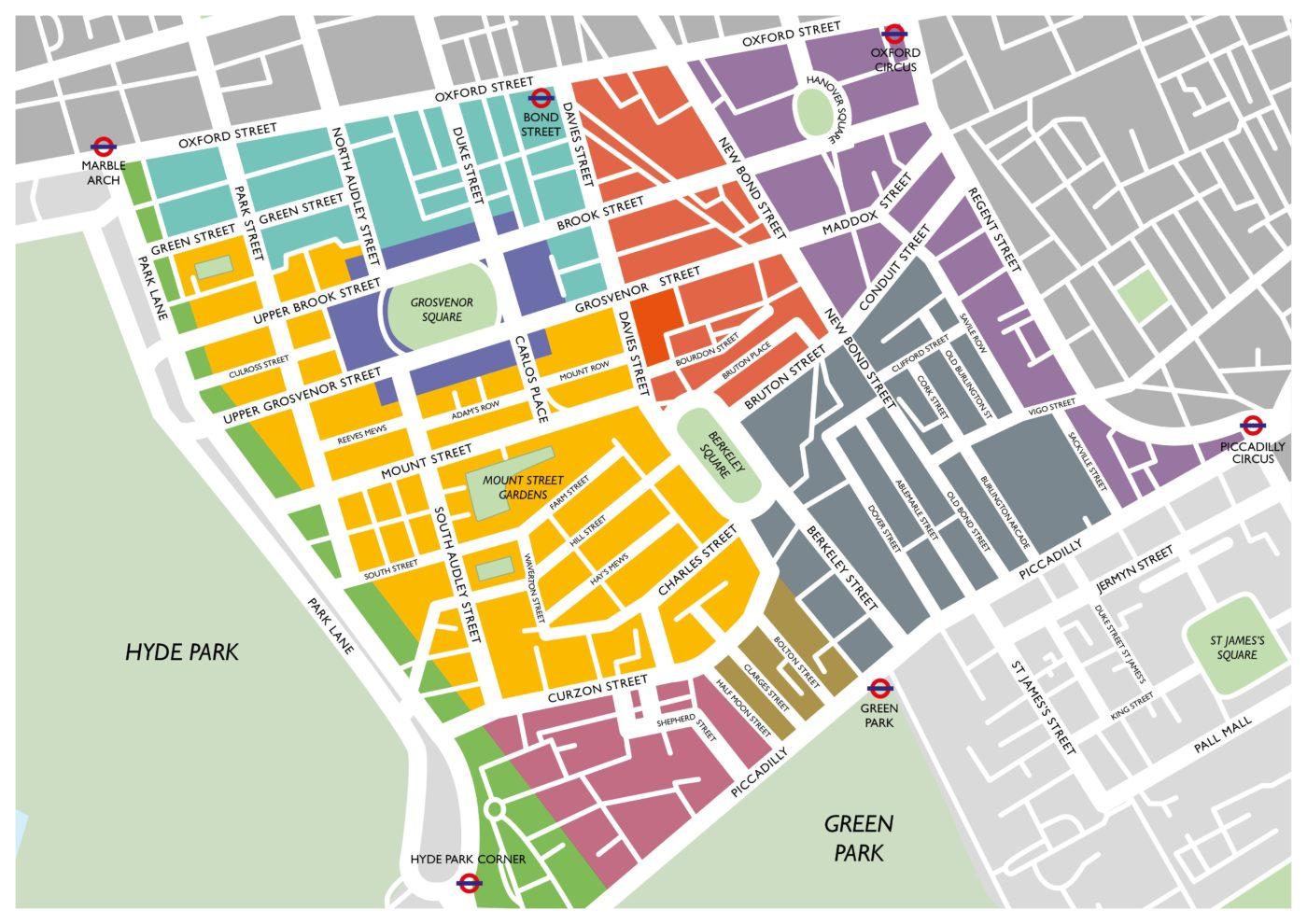 Map of Neighbourhoods of Mayfair